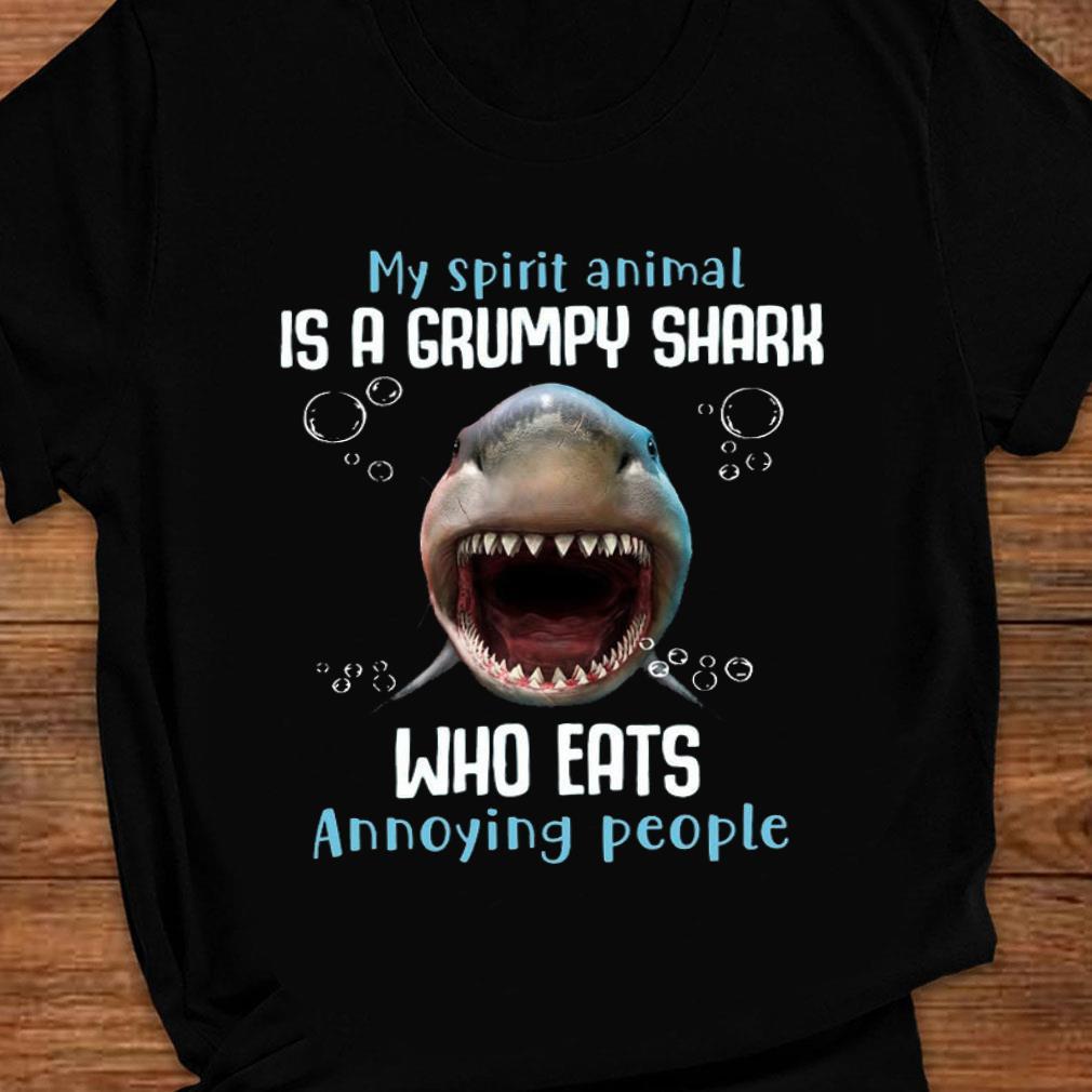My spirit animal is a grumpy shark who eats annoying people shirt ladies tee