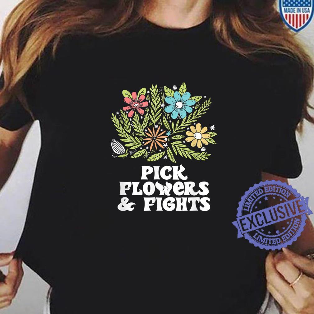 Pick Flowers & Fights Tough Gardener Punk Nature Shirt ladies tee
