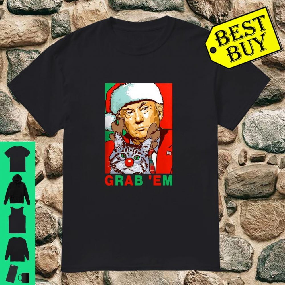 Grab' Em Donald Trump Santa Christmas with Cat Retro Vintage shirt