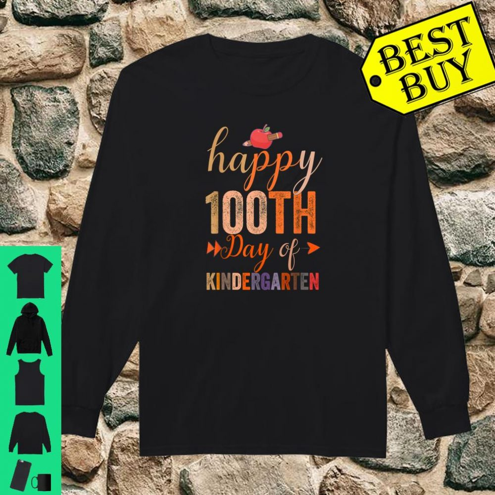 Happy 100th Day of Kindergarten for Teacher And Students shirt long sleeved