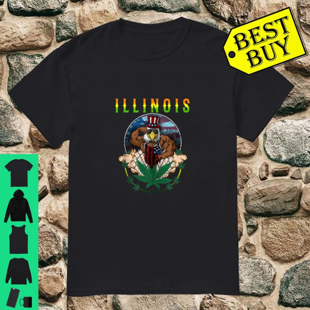 Illinois Marijuana Pot Leaf Weed Cannabis Eagle Seal Flag shirt
