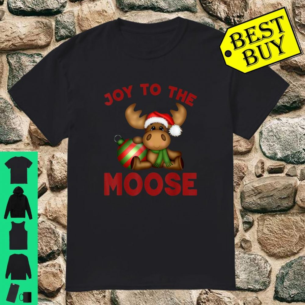 Joy To The Moose Santa Hat Moose Lover Cute Christmas shirt