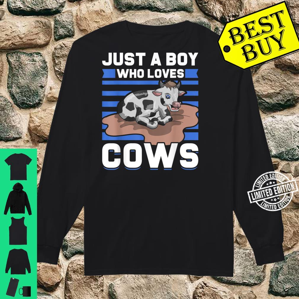 Just A Boy Who Loves Cows Shirt long sleeved