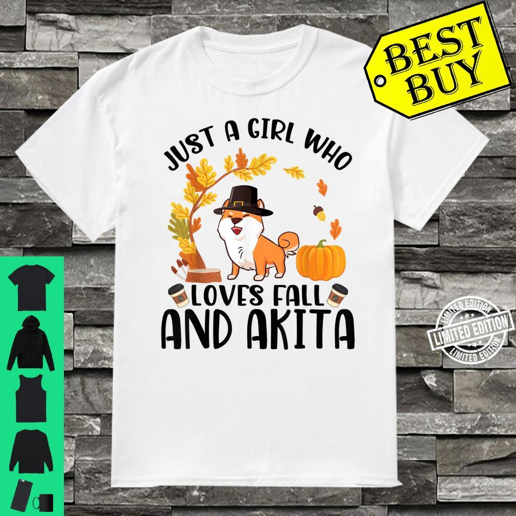 Just A Girl Who Loves Fall And Akita Halloween Thanksgiving Shirt