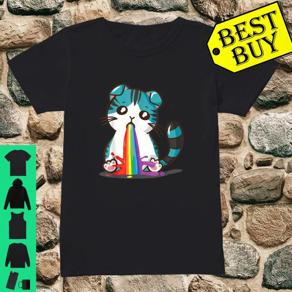 Kawaii Cat Cute Japan Anime Neko Rainbow Puke Kitty Shirt ladies tee