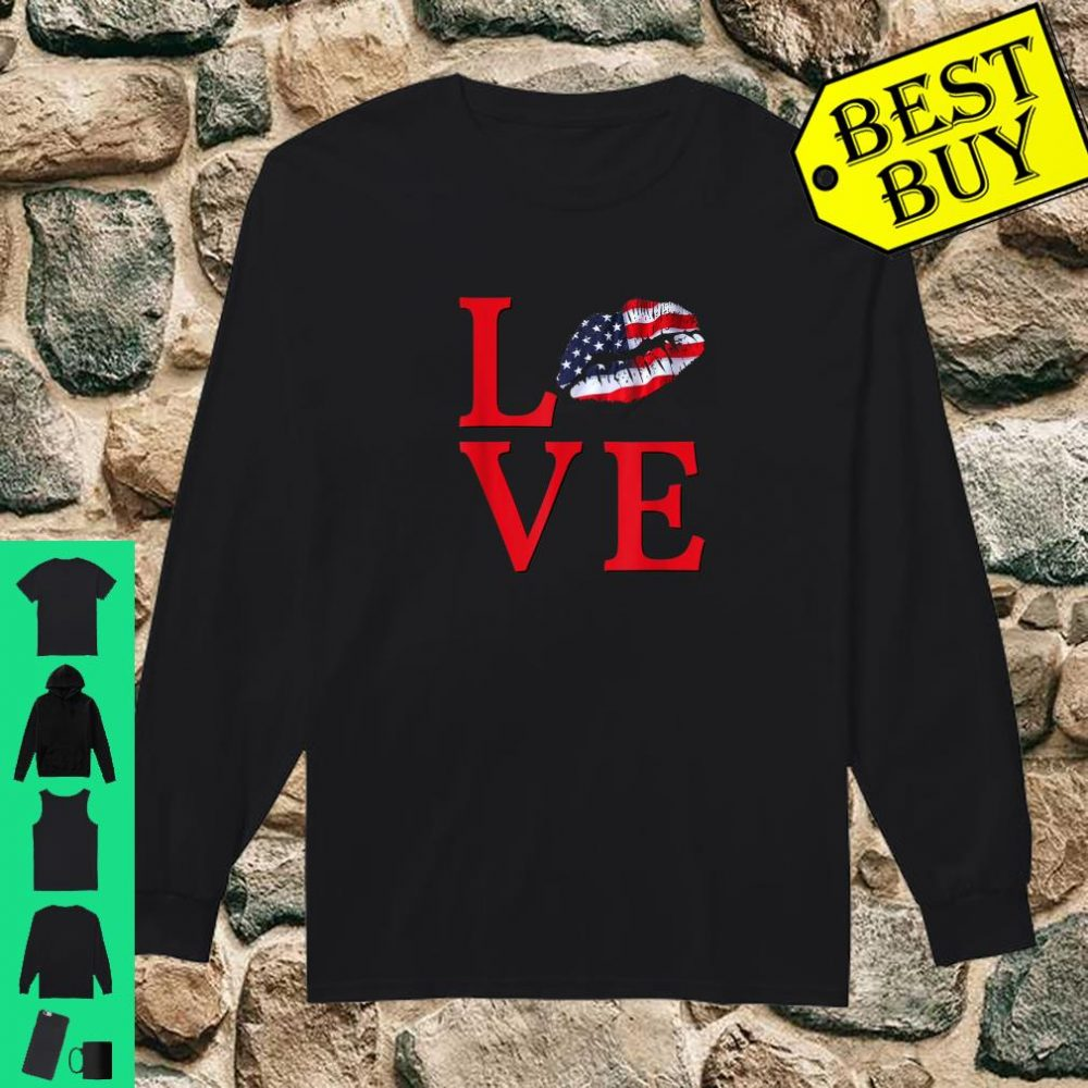 LOVE Lips With USA Flag Stars Stripes Red White Blue Shirt long sleeved
