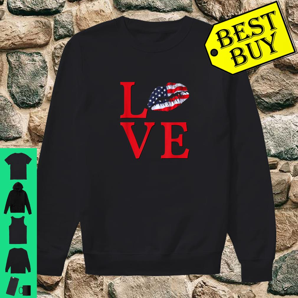 LOVE Lips With USA Flag Stars Stripes Red White Blue Shirt sweater