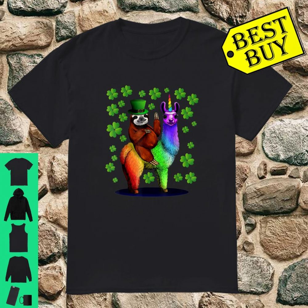 Leprechaun Sloth Riding Llamacorn St Patricks Day shirt
