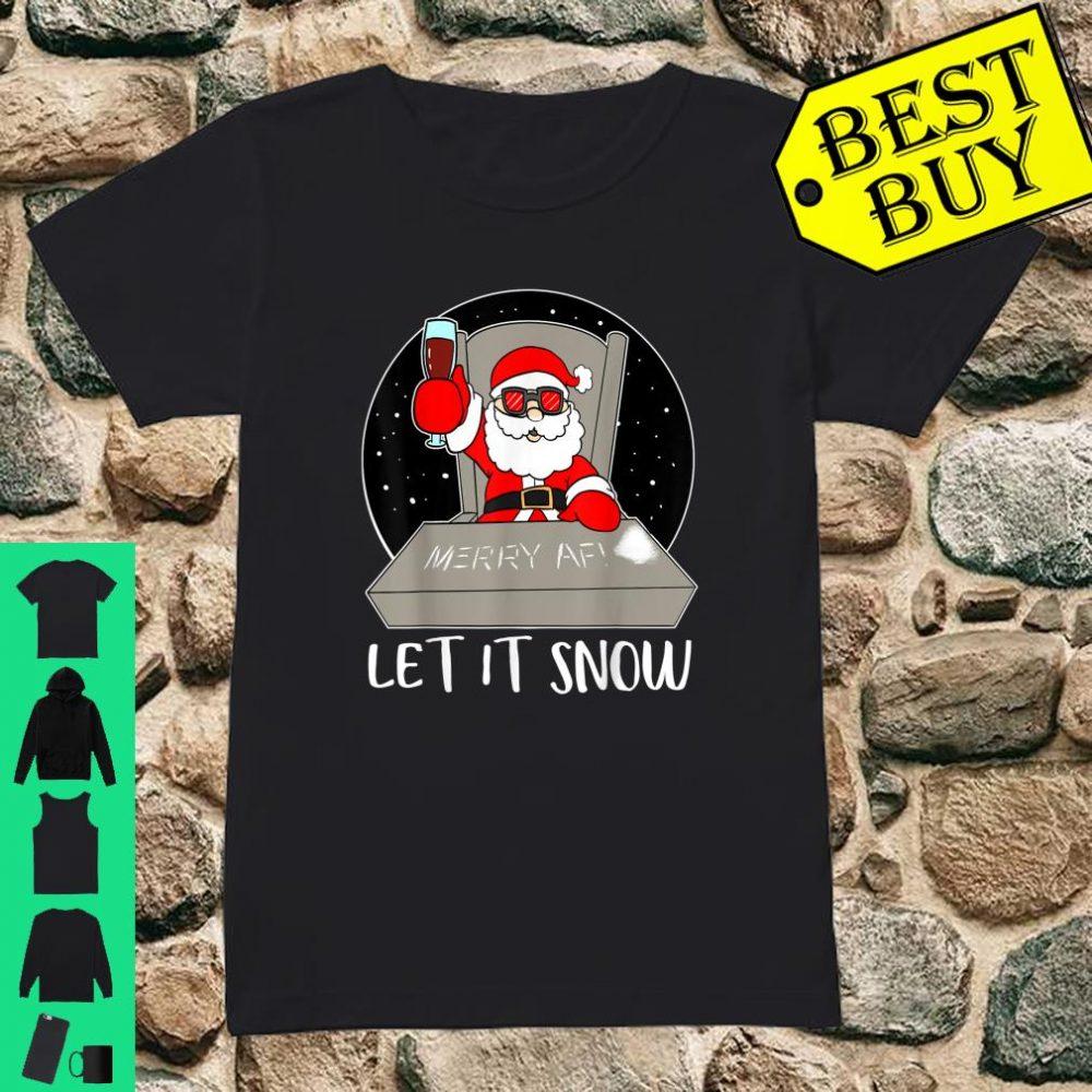 Let It Snow Cocaine Santa Adult Humor Christmas Santa shirt ladies tee