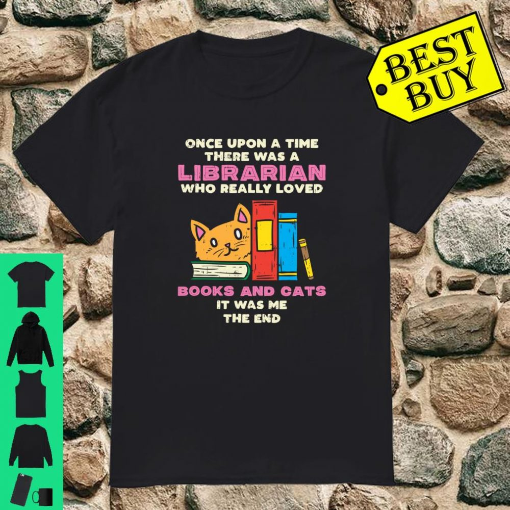 Librarian Books And Cats Pet Lover Library Worker shirt