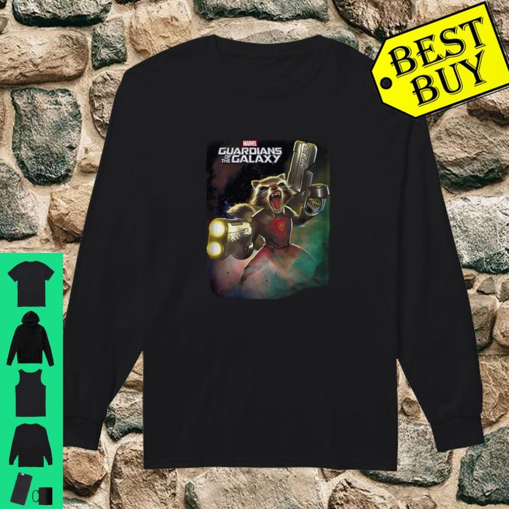 Marvel Guardians Of The Galaxy Angry Rocket Poster Langarmshirt Shirt long sleeved