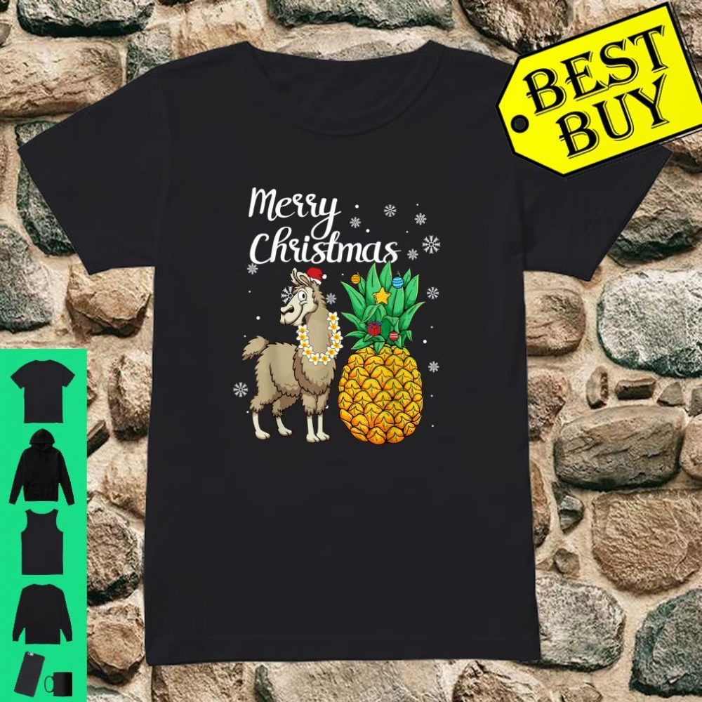 Merry Christmas Llama Santa Hat Christmas Light shirt ladies tee