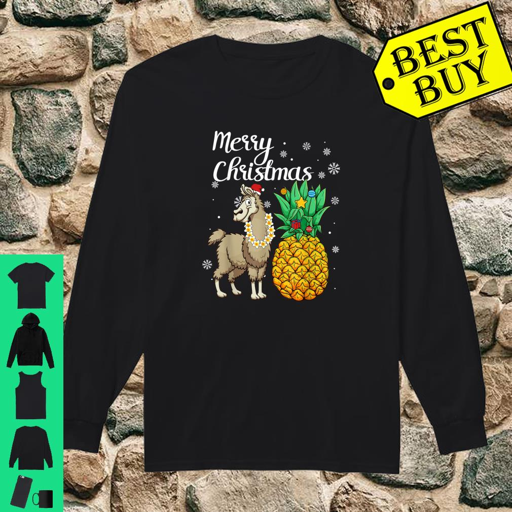 Merry Christmas Llama Santa Hat Christmas Light shirt long sleeved