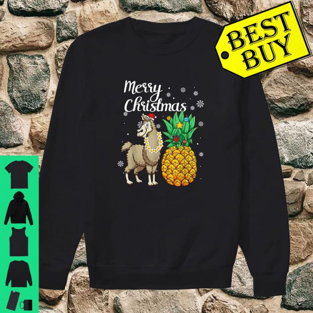 Merry Christmas Llama Santa Hat Christmas Light shirt sweater