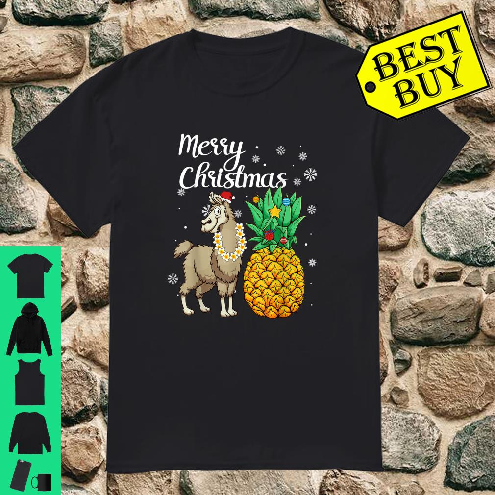 Merry Christmas Llama Santa Hat Christmas Light shirt