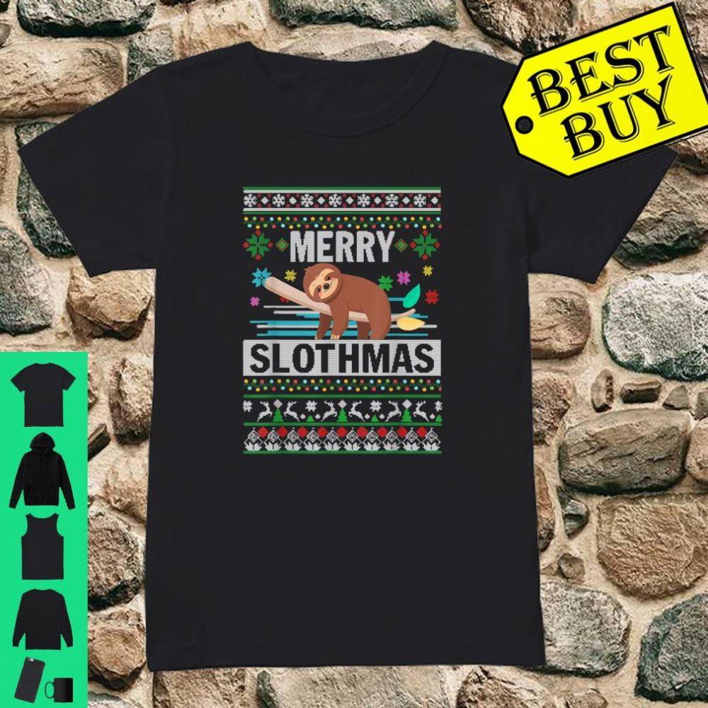 Merry Slothmas Sloth Ugly Christmas Cute Xmas shirt ladies tee