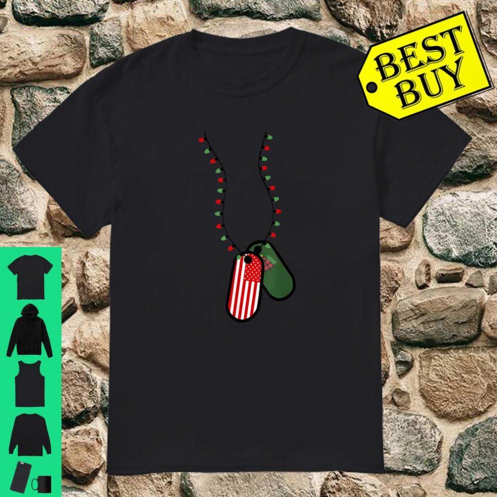 Military Christmas Lights Funny Patriotic US Flag Dog Tag shirt