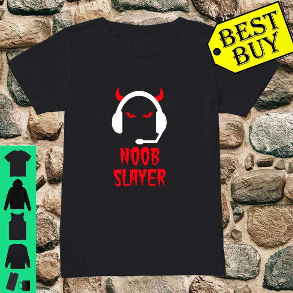Noob Slayer Gamer Gaming Evil Eyes Horns Game Player shirt ladies tee