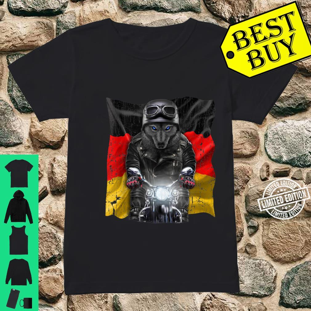 Patriot Black Wolf on Motorcycle with Flag of Germany Shirt ladies tee