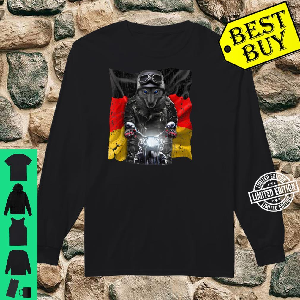 Patriot Black Wolf on Motorcycle with Flag of Germany Shirt long sleeved