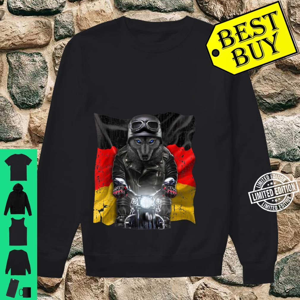 Patriot Black Wolf on Motorcycle with Flag of Germany Shirt sweater