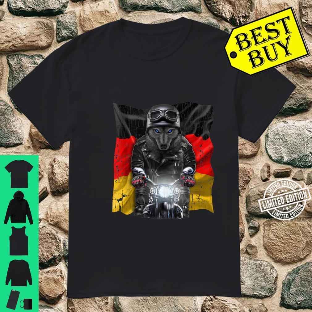 Patriot Black Wolf on Motorcycle with Flag of Germany Shirt
