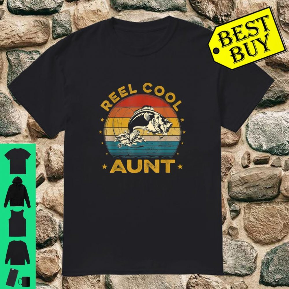 Retro Fishing Reel Cool Aunt Fishing Mother's Day shirt