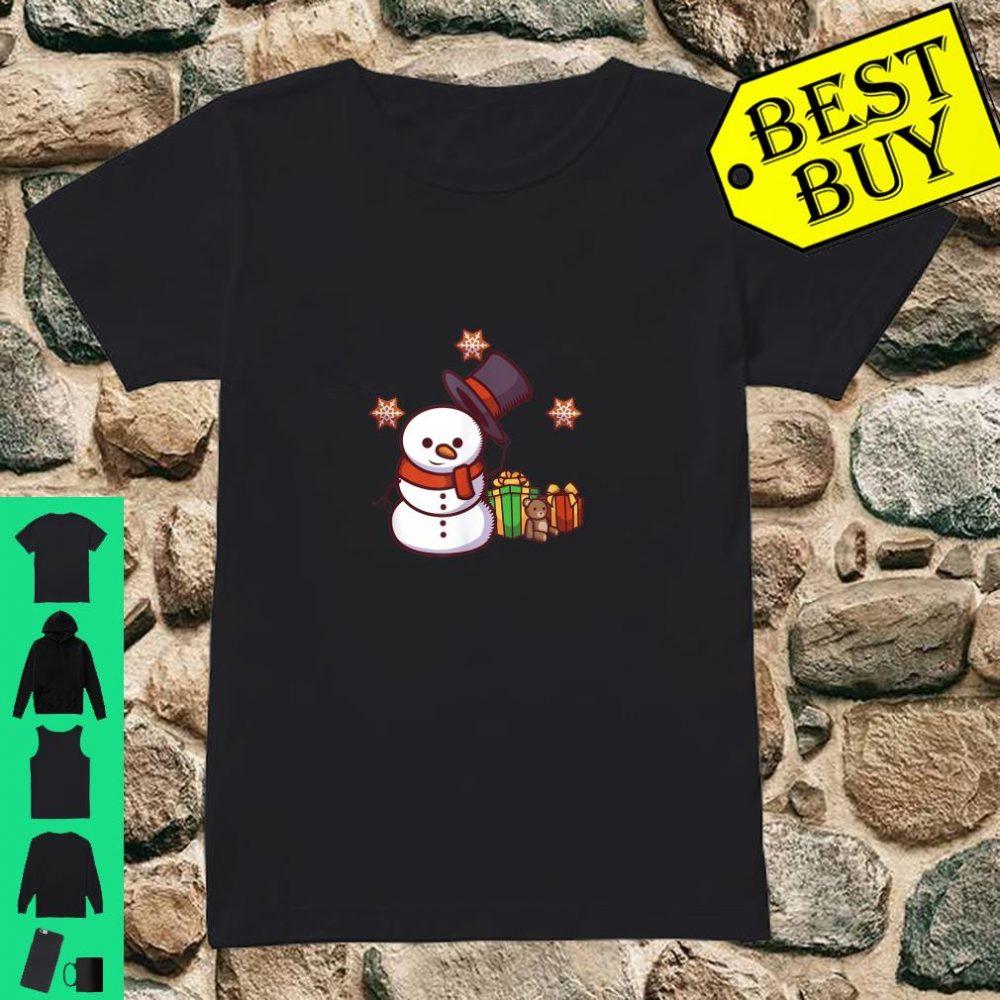 Schneemann mit Geschenken und Hut shirt ladies tee