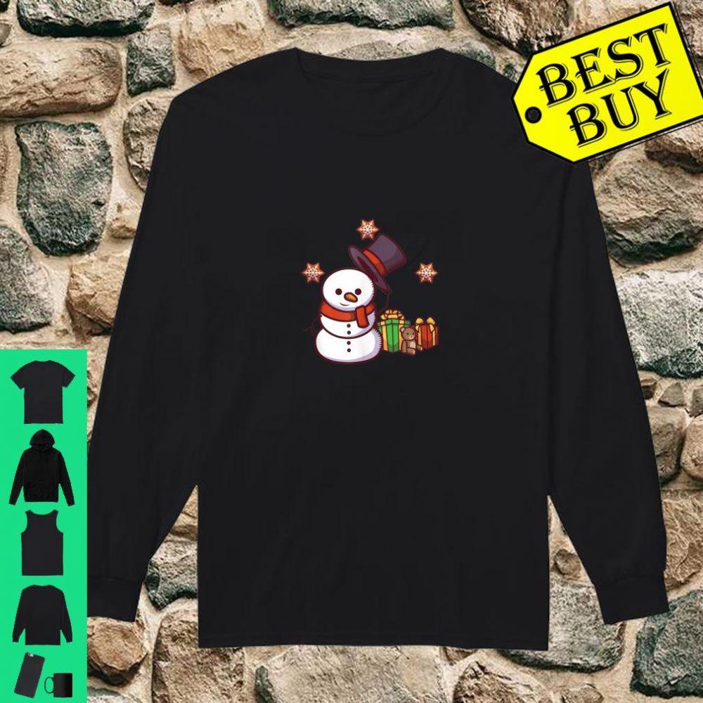 Schneemann mit Geschenken und Hut shirt long sleeved