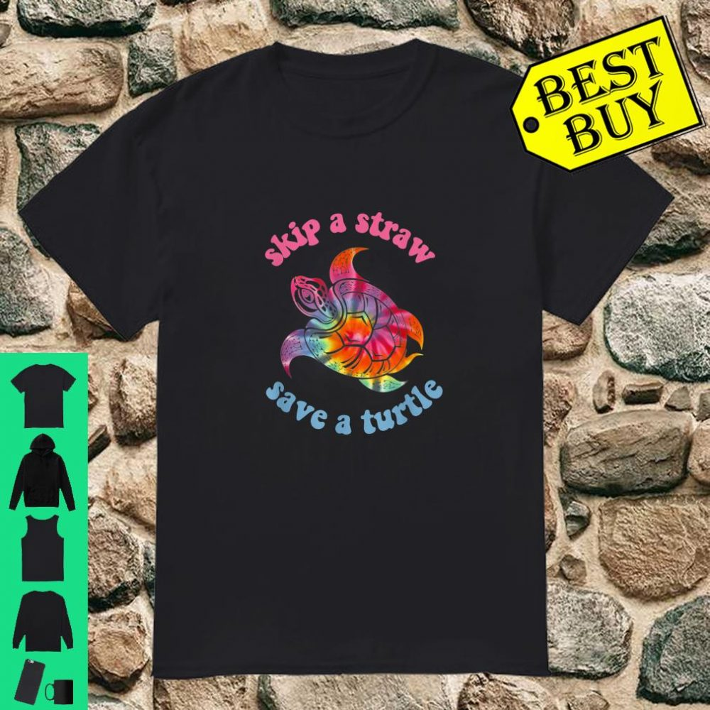 Skip A Straw Save A Turtle Tribal Retro 90's Aesthetic shirt