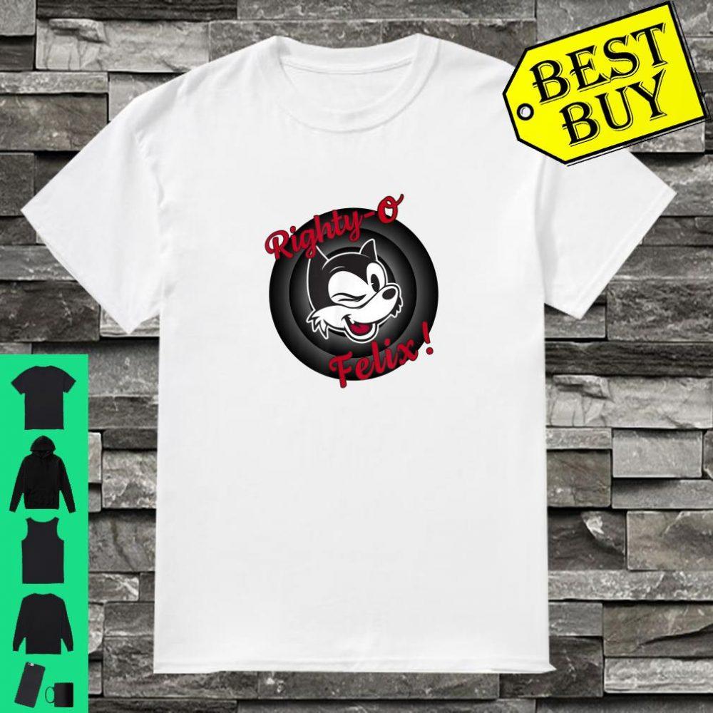 Winking Cat Cartoon Righty-O Felix! Black White Red Retro shirt