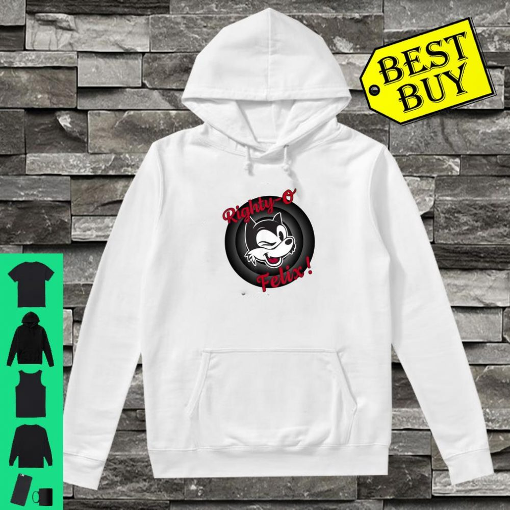 Winking Cat Cartoon Righty-O Felix! Black White Red Retro shirt hoodie