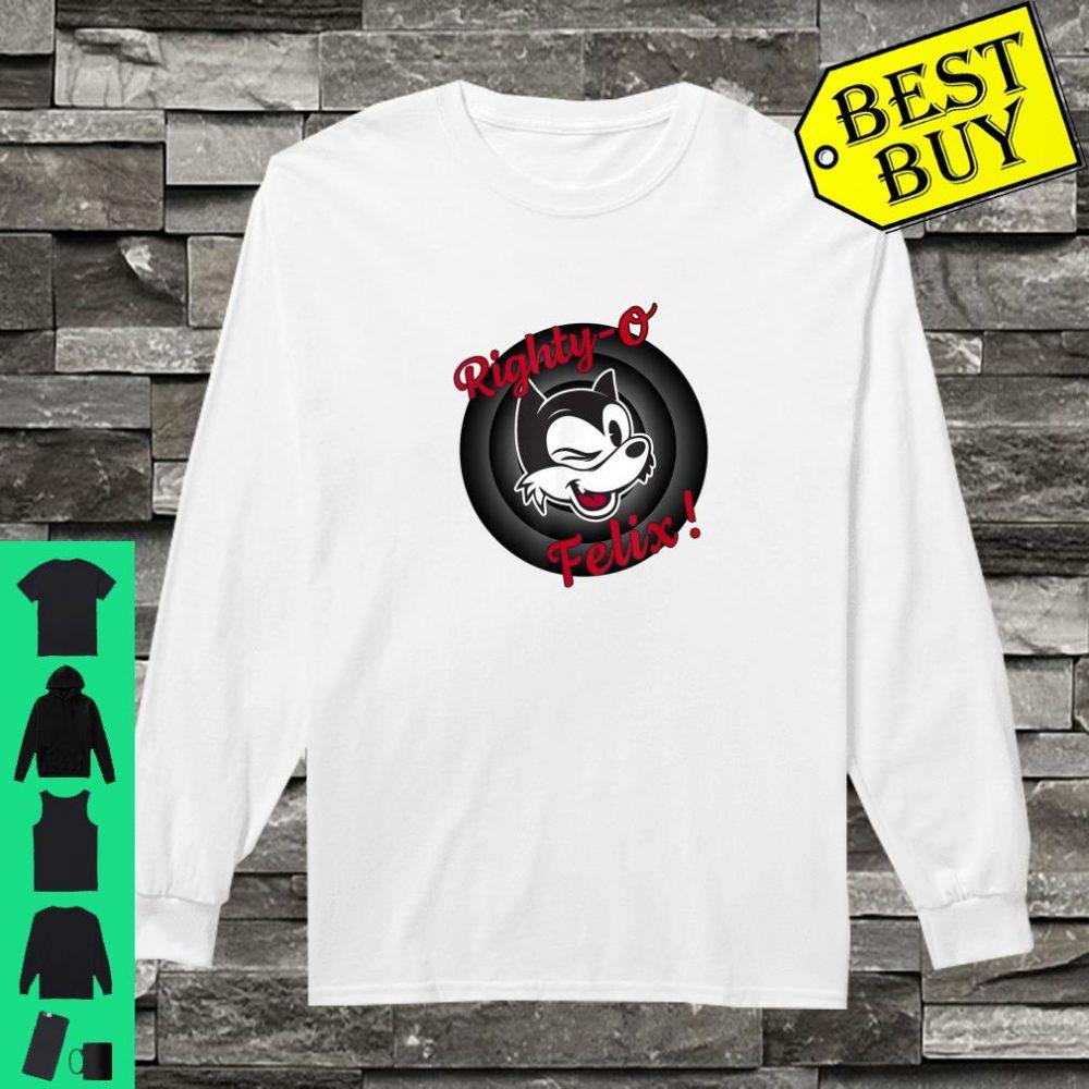 Winking Cat Cartoon Righty-O Felix! Black White Red Retro shirt long sleeved