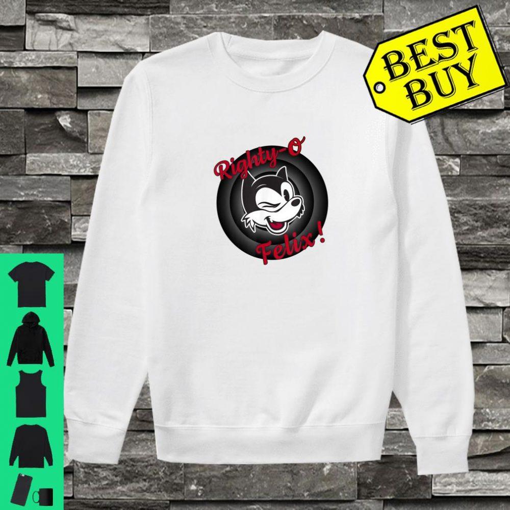 Winking Cat Cartoon Righty-O Felix! Black White Red Retro shirt sweater