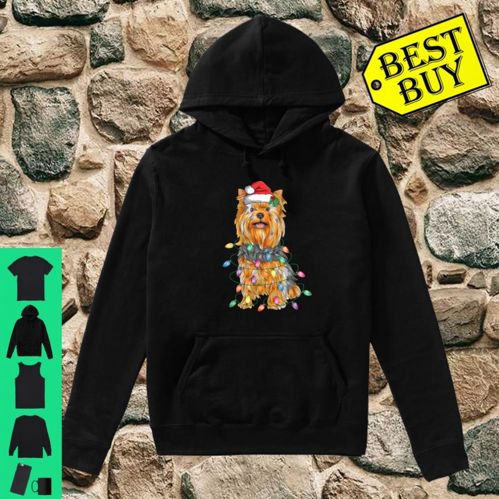Yorkshire Terrier Christmas Lights Xmas Tree Dog shirt hoodie