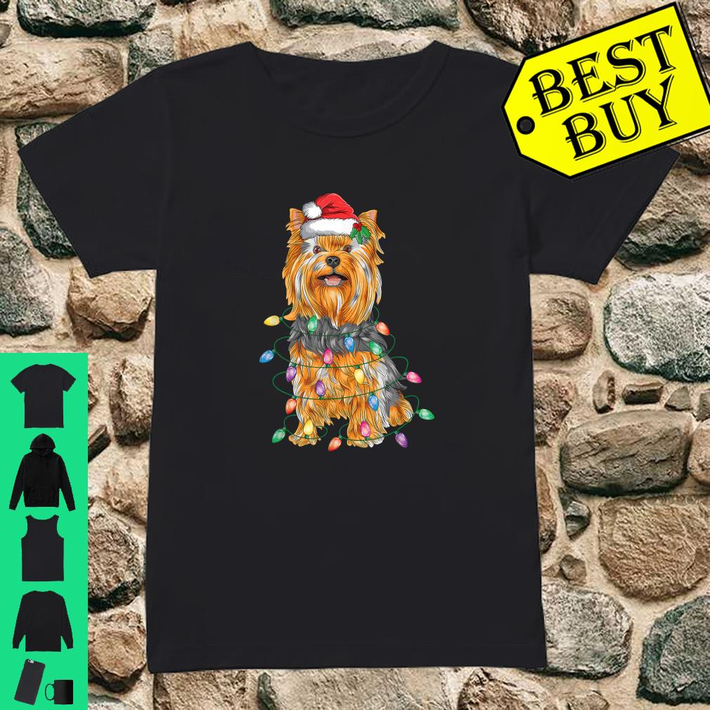 Yorkshire Terrier Christmas Lights Xmas Tree Dog shirt ladies tee