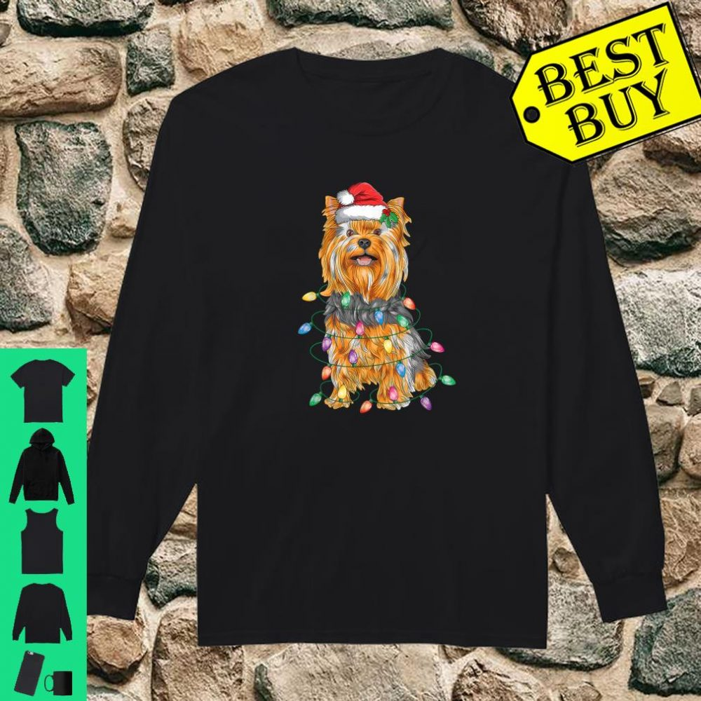 Yorkshire Terrier Christmas Lights Xmas Tree Dog shirt long sleeved